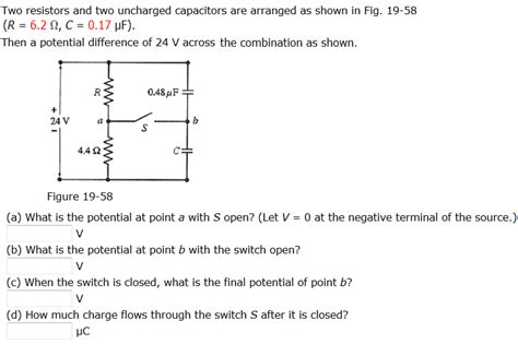 uncharged capacitor resistor connected series two resistors and two uncharged capacitors are arranged as shown in figure 1 28 images two