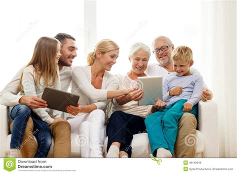 Lovely Mother Daughter Home Plans #7: Smiling-family-tablet-pc-home-generation-technology-people-concept-computers-46149646.jpg