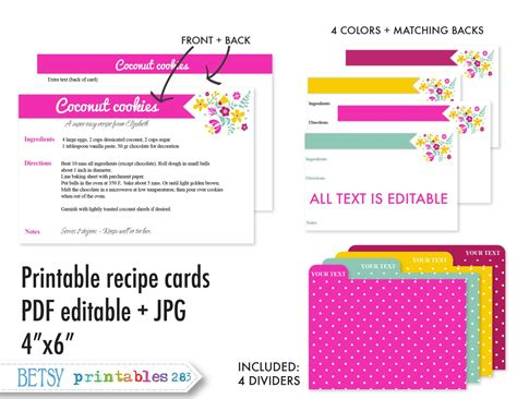 template for recipe card dividers printable recipe cards 4x6 recipe cards recipe card