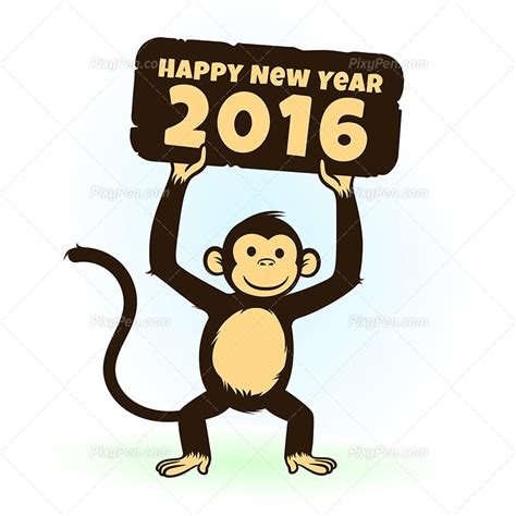 new year greetings related to monkey happy new year 2016 vector clipart