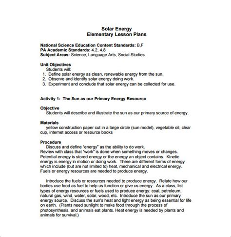 Elementary Lesson Plan Template 10 Free Sle Exle Format Download Free Premium Renewable Energy Business Plan Template