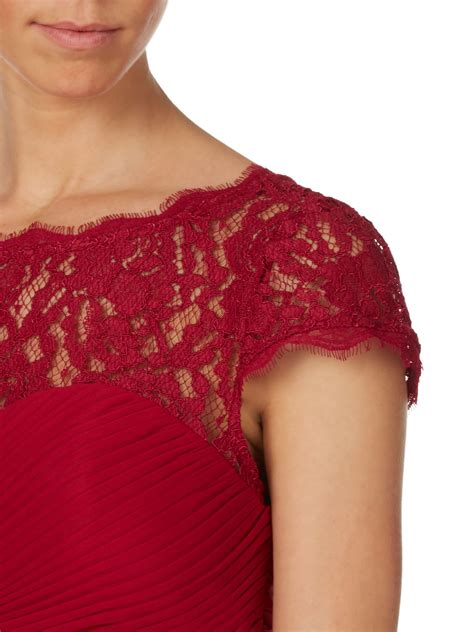 adrianna papell lace bodice on draped skirt adrianna papell lace bodice on draped skirt in red lyst