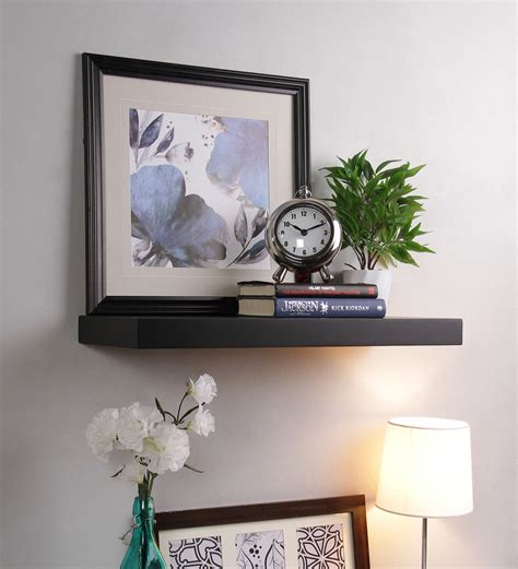 buy decornation black mdf single flat floating wall shelf