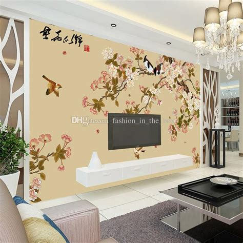 Elegant Bird And Flower Wallpaper Custom 3d Wall Mural
