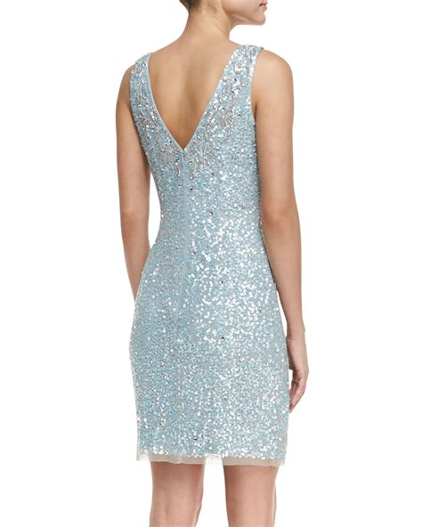 beaded blue dress lyst aidan mattox sleeveless beaded sequined cocktail
