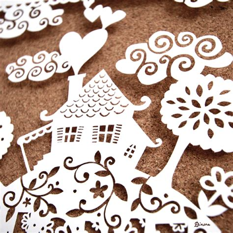 Paper Cutting Craft - home sweet home papercut artwork