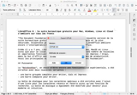 format epub pour windows libreoffice 6 disponible pour mac windows linux et cloud