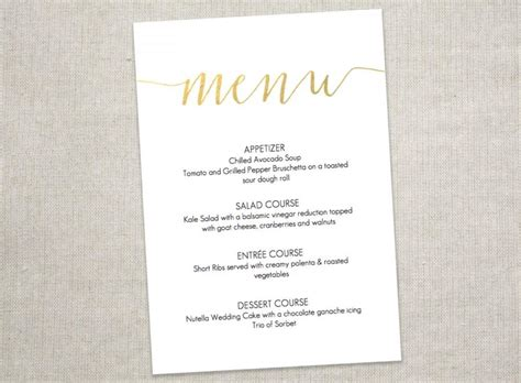 Wedding Menu Font Free by Gold Slant Menu Printable Wedding Menu 5x7 Inches