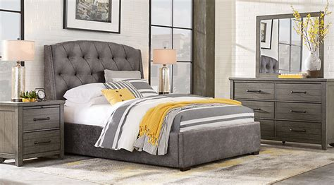 plains gray 7 pc king upholstered bedroom king