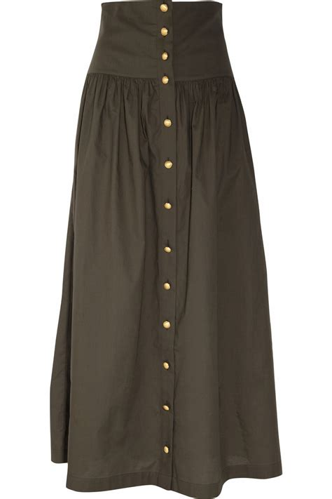 paul joe cotton maxi skirt in khaki lyst