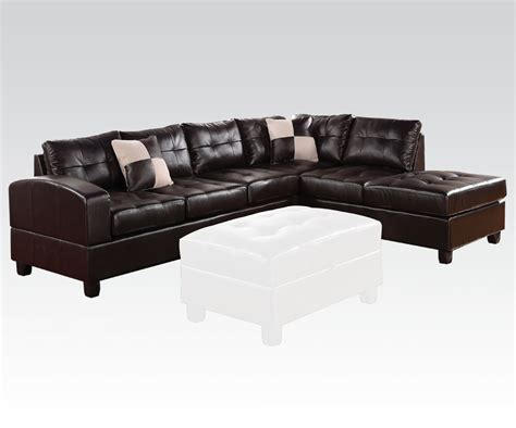 bonded leather sectional sofa with chaise living room sectional sofa set espresso contemporary