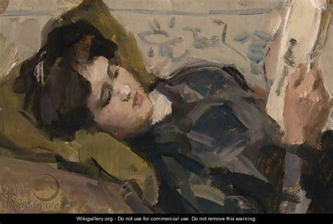 reclining girl a reclining girl looking at a print isaac israels
