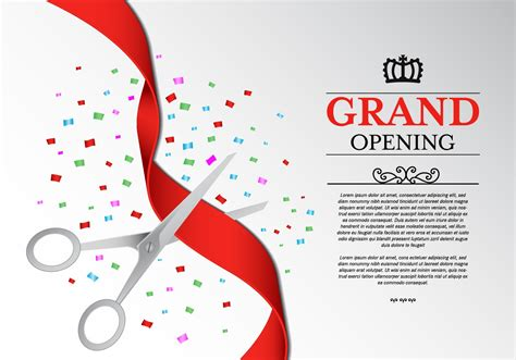 grand opening invitation templates free ribbon cutting ceremony vector free vector