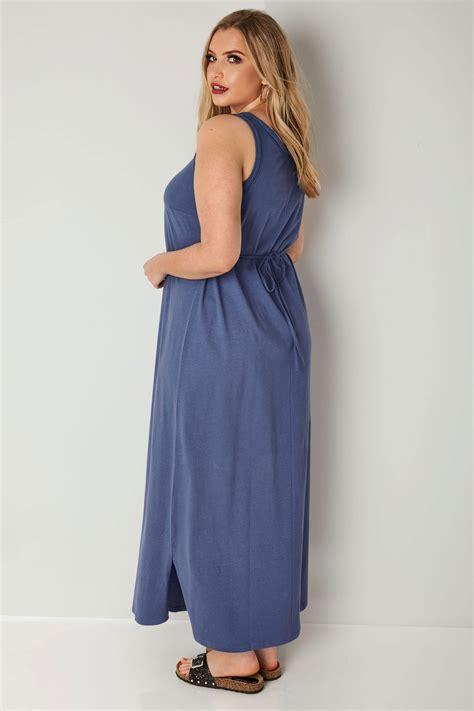 Id 740 Split Mesh Dress blue chambray sleeveless maxi dress with plait trim plus