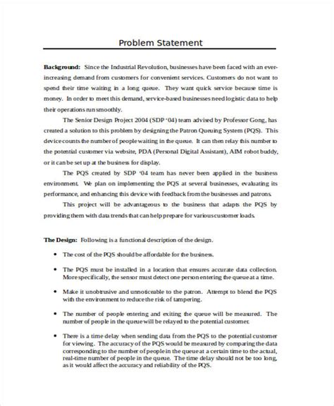 business problem statement template 33 statement exles in word