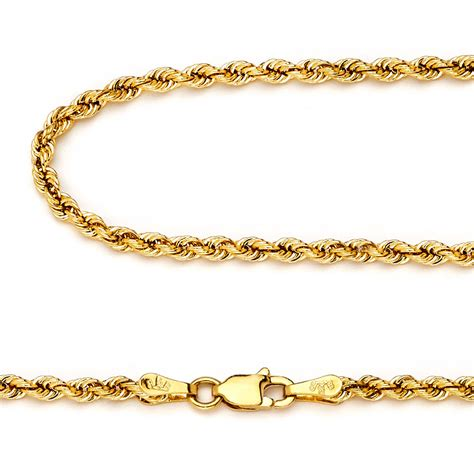 14k yellow gold 2 3mm italy rope chain twist link necklace