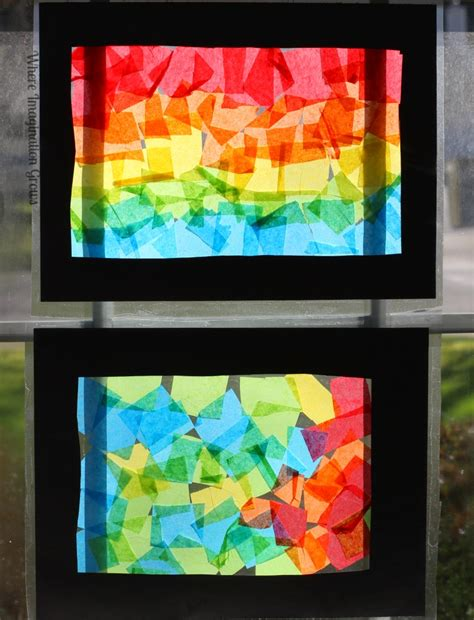 Paper Stained Glass Craft - tissue paper rainbow craft for collage rainbows