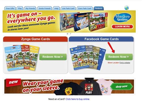 Facebook Gift Card Redemption - zynga support