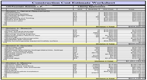 build a house estimate construction cost estimate worksheet
