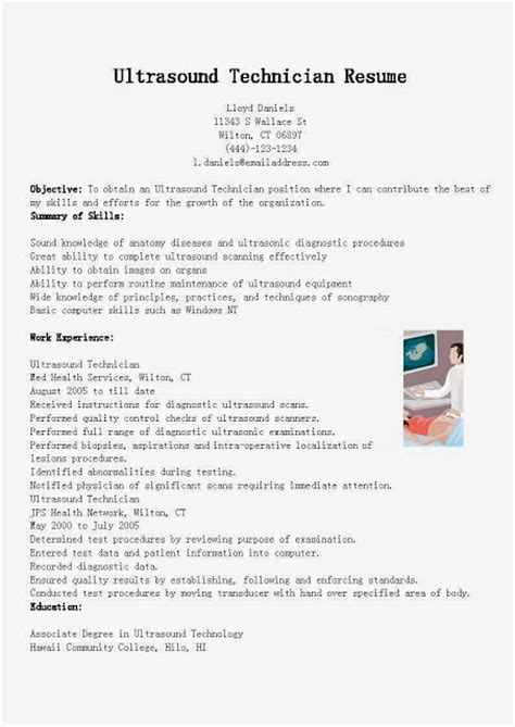 pin ultrasound tech resume technician facts on