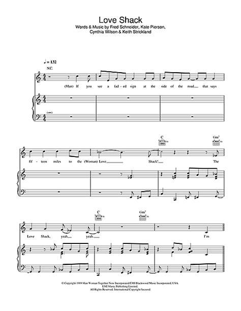 printable lyrics to love shack love shack sheet music by the b 52 s piano vocal