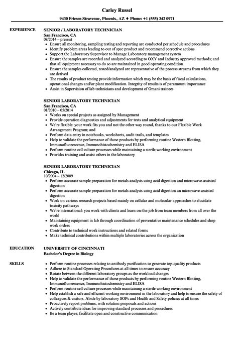 Senior Quality Engineer Sle Resume Sle Resume For Lab Technician Research Paper Essay