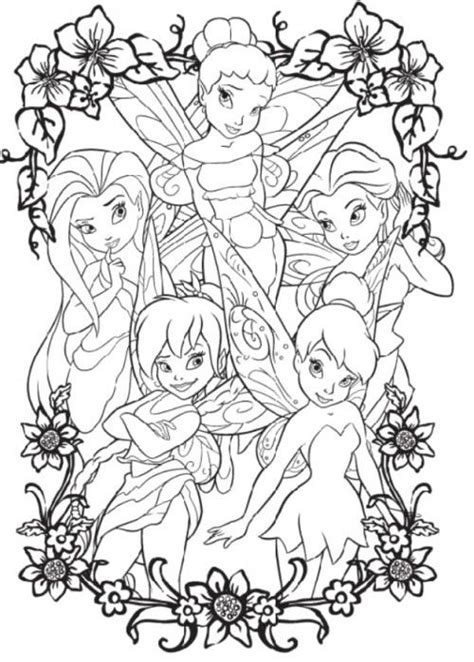 tinker bell and four friends coloring page coloring