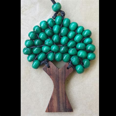 beaded tree necklace wooden tree of beaded necklace pendant 9 5 cm