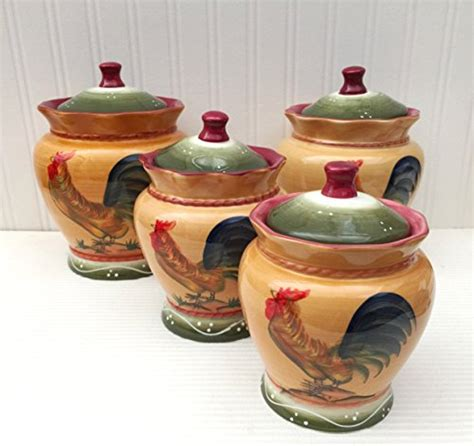 rooster canisters kitchen products tuscan country rooster painted collection dinnerware set 11street malaysia