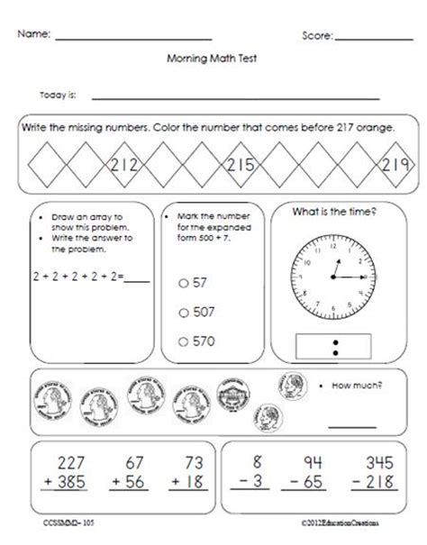 Morning Worksheets by Morning Math