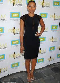 Mel Dress mel b wears black dress with mesh panel at prism awards in