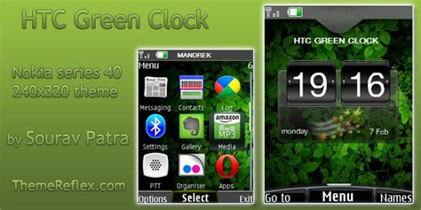 clock themes htc htc green clock theme for nokia 240 215 320 themereflex