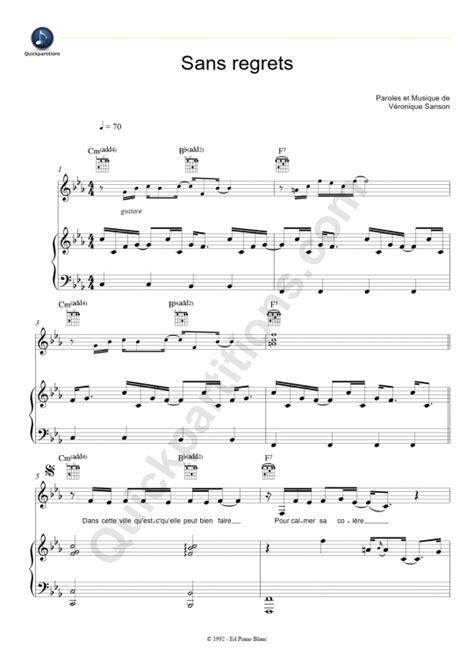 tutorial piano veronique sanson partition piano sans regrets v 233 ronique sanson partition