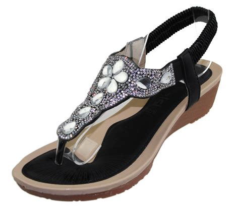 Wedge Heel Wedding Sandals by Womens Wedge Heel Sandals Diamante Toe Post Summer