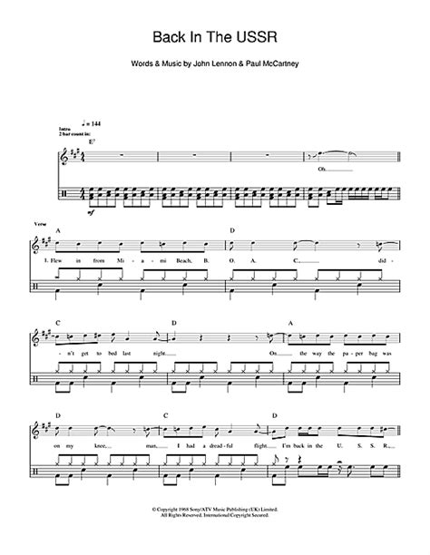 drum tutorial back in black back in the ussr drum tab by by the beatles drums 102029