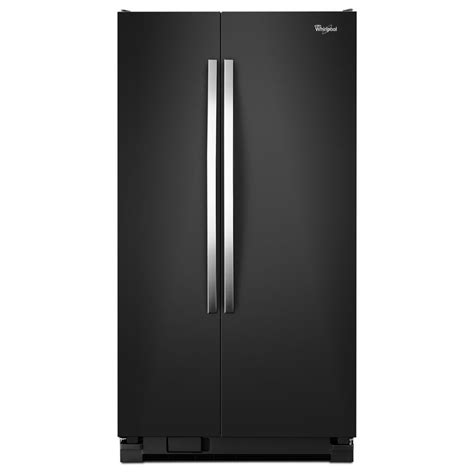 shop whirlpool 24 9 cu ft side by side refrigerator black at lowes