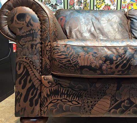 tattoo shop furniture tattooed sofa mcqueen maybe for the room