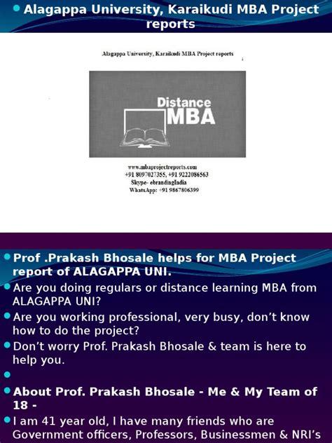 Alagappa Mba by Alagappa Karaikudi Mba Project Reports