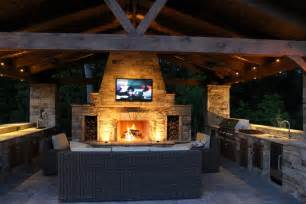 Outdoor Kitchen And Fireplace Designs Kitchen Pleasant Bull Outdoor Kitchens With Lcd Tv Above Fireplace Facing Sofa On