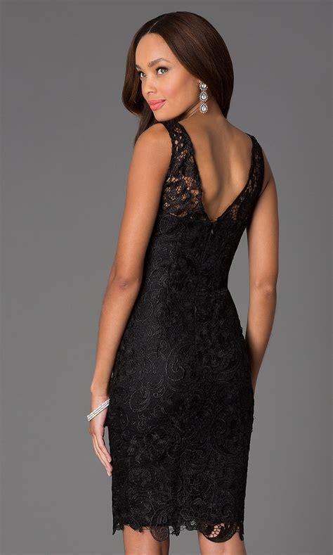 knee length sleeveless lace cocktail dress