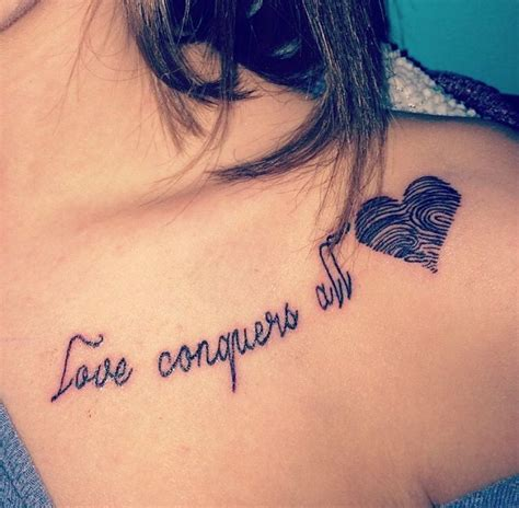 love conquers all latin tattoo designs conquers all thumbprint ideas