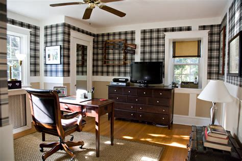 home office wallpaper office space with plaid wallpaper