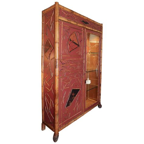 bamboo cabinet chinese lacquer display cupboard antiques antique regency style red lacquer and bamboo cabinet for