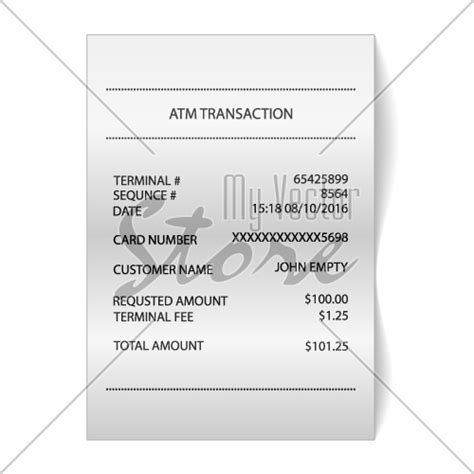 Atm Receipt Template by Atm Transaction Printed Paper Receipt Bill Vector