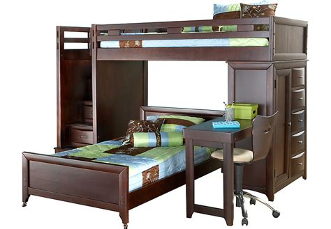 ivy league cherry twin twin step loft bunk with chest and