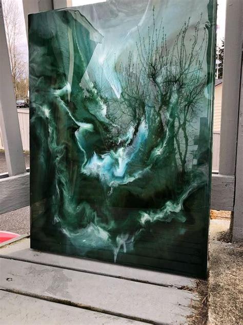 green sea original abstract resin art painting resin