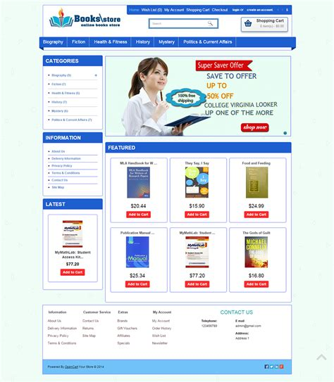 free bookstore website template bookstore open cart website templates themes free