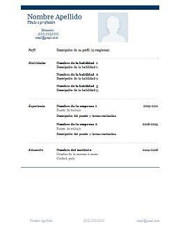 Modelo De Curriculum Vitae Archivo Word Formato De Curriculum En Word Y Gratis