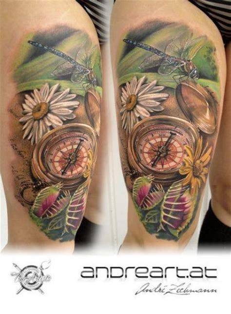 schulter realistische libelle kompass tattoo von andreart