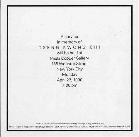 Memorial Service Invitation Letter Tseng Kwong Chi Selected Document Artasiamerica A Digital Archive For Asian Asian